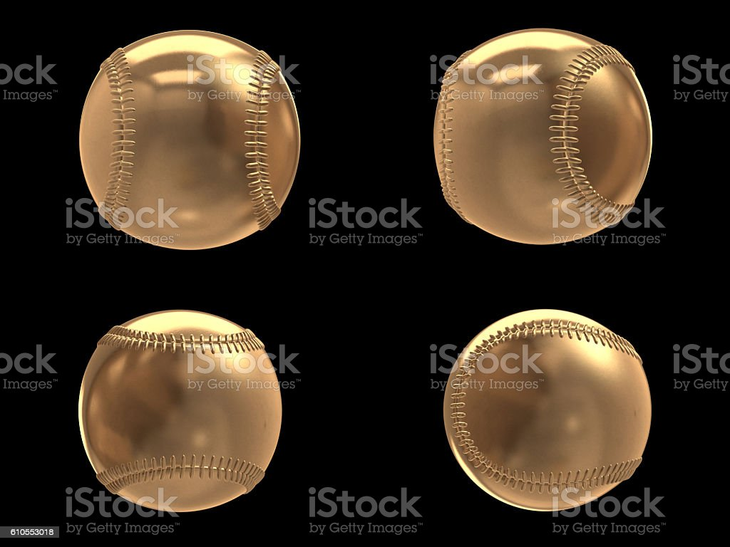 Set of Golden baseball isolated objects.3D rendering stock photo