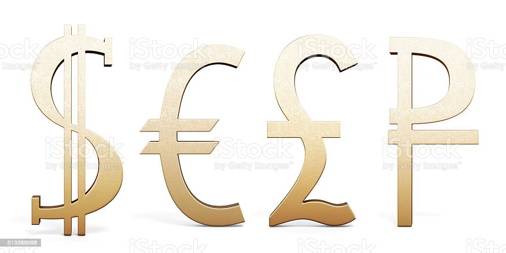 Set Of Golden Currency Symbols Dollar Euro Pound Sterling And Stock