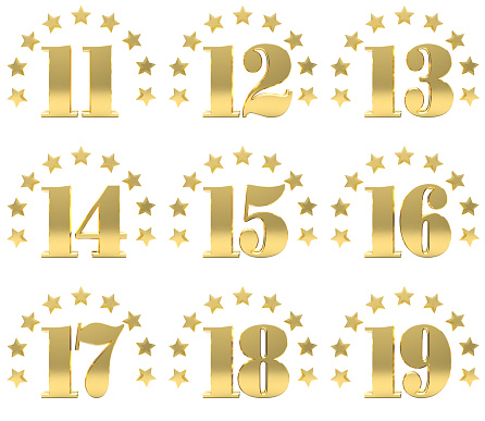 istock Set of golden digit from eleven to nineteen, decorated with a circle of stars. 3D illustration 681719108