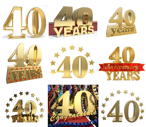Set of golden digit from ten to ninety, decorated with a circle of stars. 3D illustration stock photo