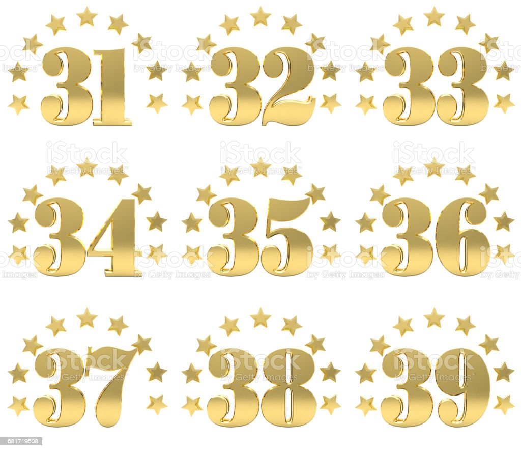 Set of golden digit from thirty one to thirty nine, decorated with a circle of stars. 3D illustration stock photo