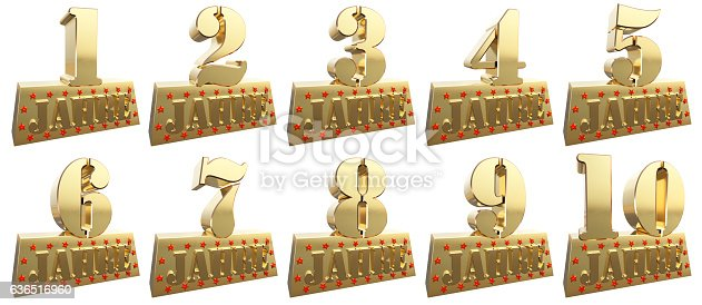 istock Set of golden digits for the anniversary. German 636516960