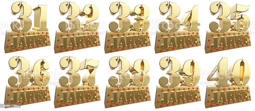Set of golden digits for the anniversary. German stock photo