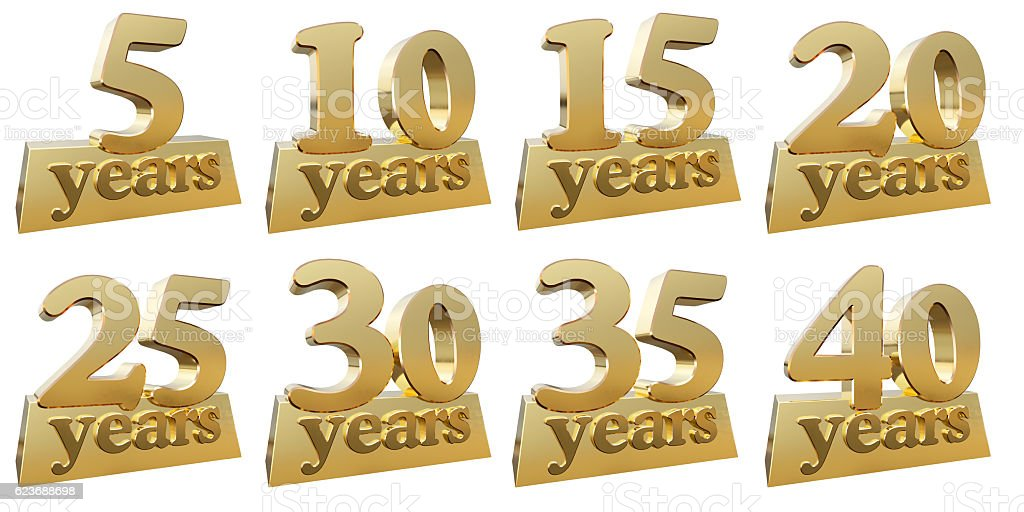 Set of golden digits for the anniversary - foto de stock
