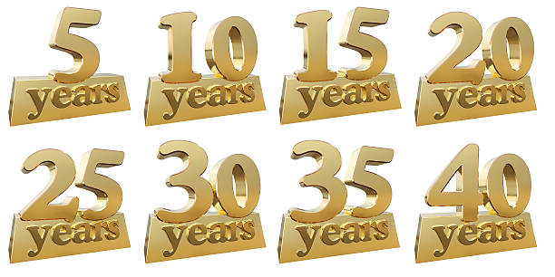 set of golden digits for the anniversary - anniversary stock photos and pictures