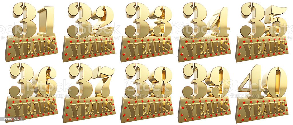 Set of golden digits for the anniversary stock photo