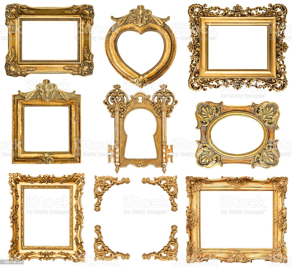 set of golden frames. baroque style antique objects stock photo