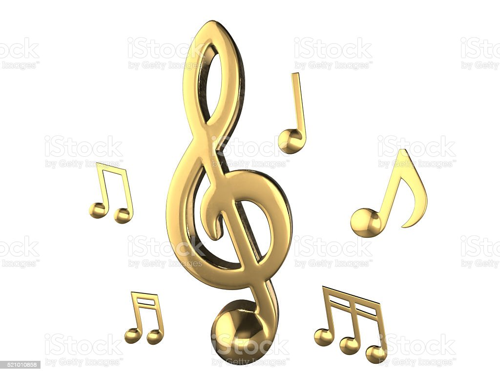 Set Of Golden Music Notes Isolate Objects 3d Rendering