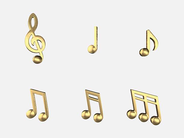 conjunto de notas de música dourado, isolar objetos.3d representação artística - desenhos de notas musicais - fotografias e filmes do acervo