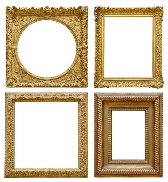 satz von vintage goldrahmen isoliert auf weißem hintergrund (clipping-pfad) - clipping path stock-fotos und bilder