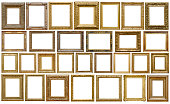 istock Set of golden vintage frame isolated on white background (Clipping Path) 1199208938