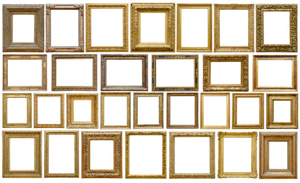Set of golden vintage frame isolated on white background (Clipping Path) stock photo