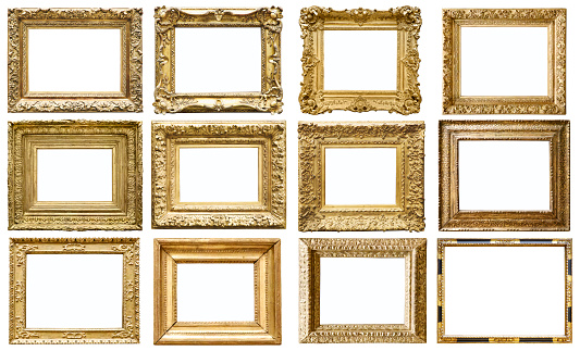 Set of golden vintage frame isolated on white background (All clipping paths included)