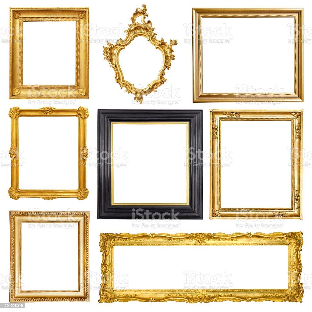 Set of golden vintage frame isolated on white background royalty-free stock photo