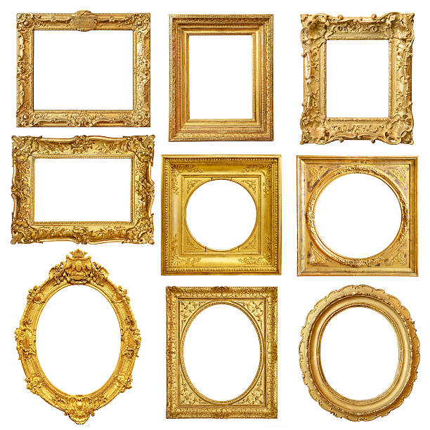 set of golden vintage frame isolated on white background - baroque stock photos and pictures
