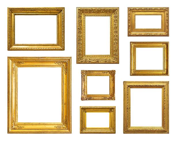 set di vintage cornice oro - intelaiatura foto e immagini stock