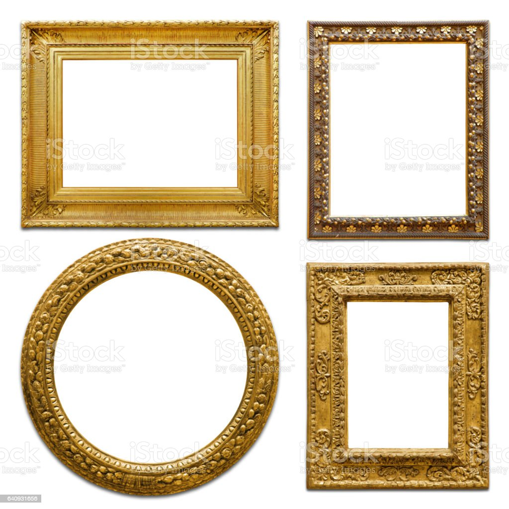 Set of Golden vintage frame (Clipping Path) stock photo