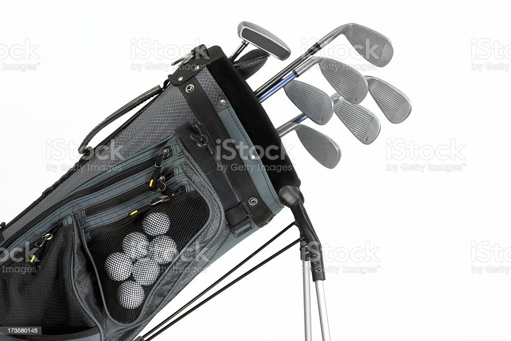 A set of golf clubs on a white background royalty-free stock photo