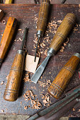 Set of gouges for carving wood on bench