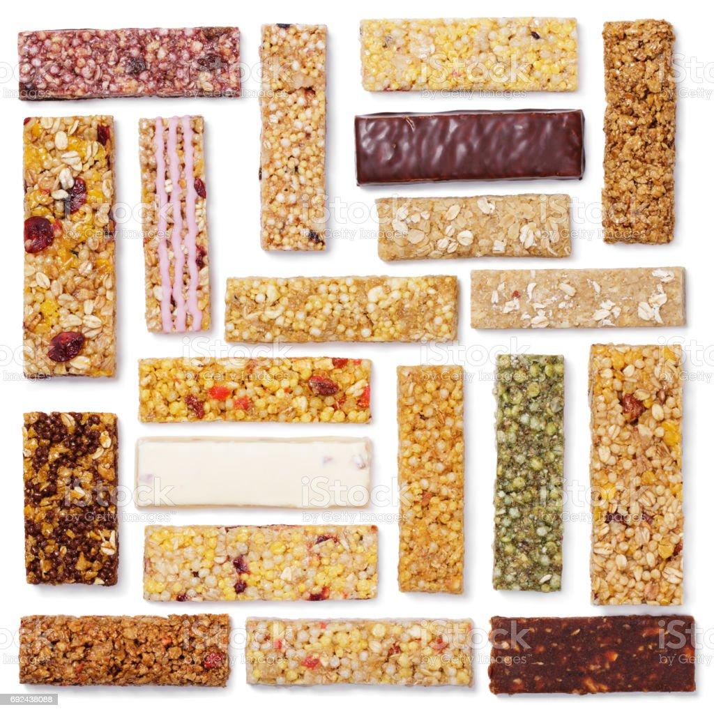 conjunto de barras de granola (bar de muesli ou cereais) isolado no branco - foto de acervo