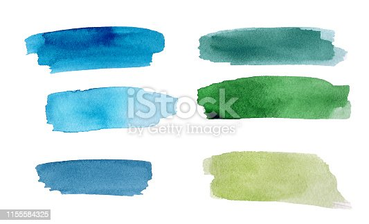 Set of green and blue colorful watercolor blot on white background. The color splashing in the paper. It is a hand drawn picture