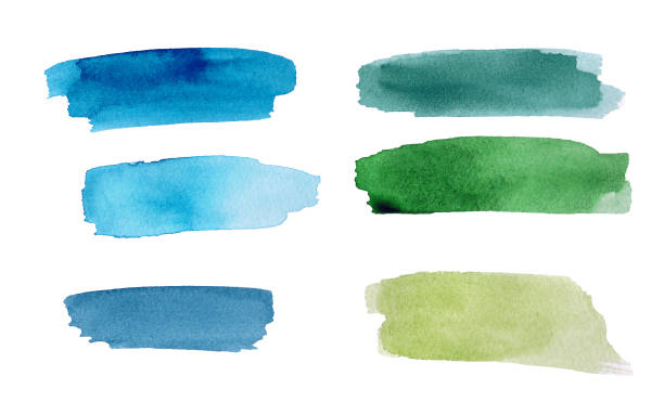 Set of green and blue colorful watercolor blot on white background. The color splashing in the paper. It is a hand drawn picture Set of green and blue colorful watercolor blot on white background. The color splashing in the paper. It is a hand drawn picture brush stroke stock pictures, royalty-free photos & images