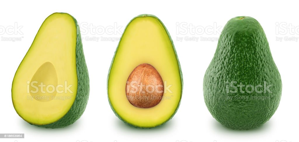 Set of green avocados isolated on a white stock photo
