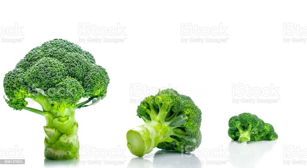 Set of green broccoli (Brassica oleracea). Vegetables natural source of betacarotene, vitamin c, vitamin k, fiber food, folate. Fresh broccoli cabbage isolated on white background. stock photo