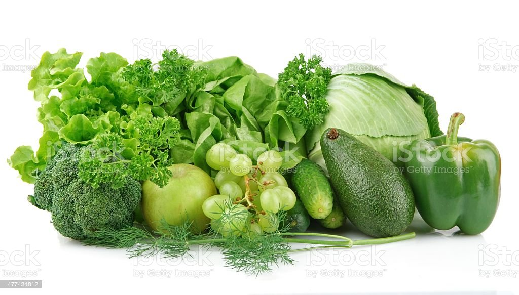 Set of green vegetables and fruits stock photo
