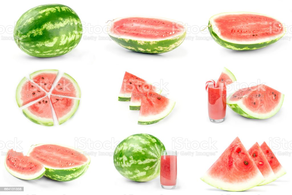 Set of Green watermelon on a white background clipping path foto stock royalty-free