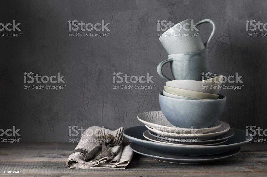Set of grey crockery stock photo