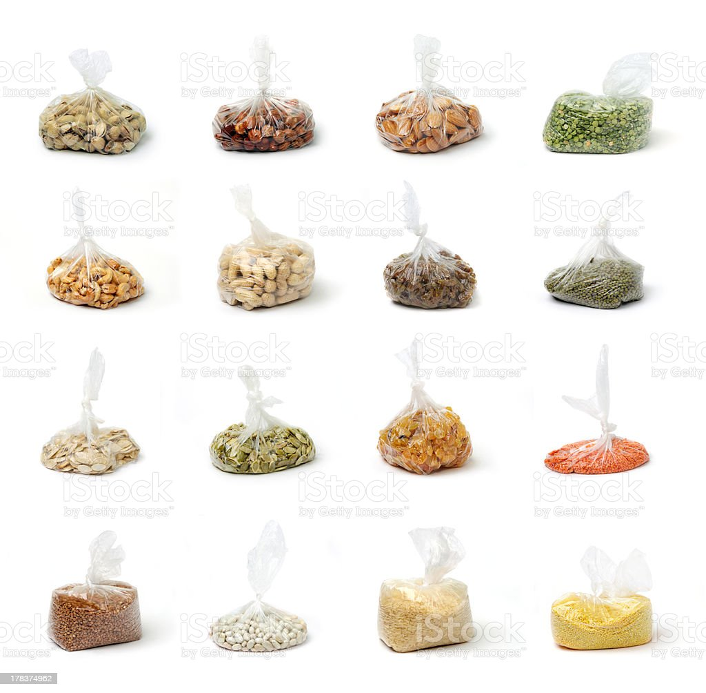 Set of groats and nuts stock photo