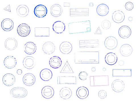 Set of grunge rubber stamps of different shapes. collection of mock up templates distressed overlay mark of blue color. Isolated on white background