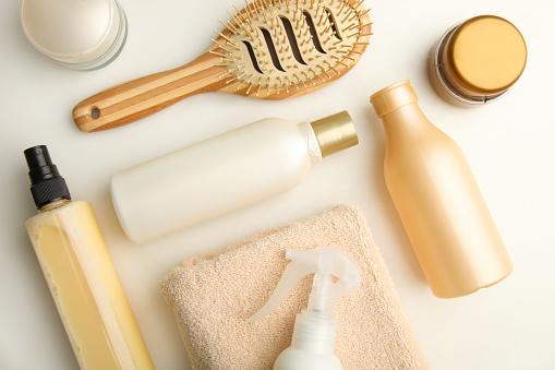 Set of hair care products on white background. The concept of hair care.