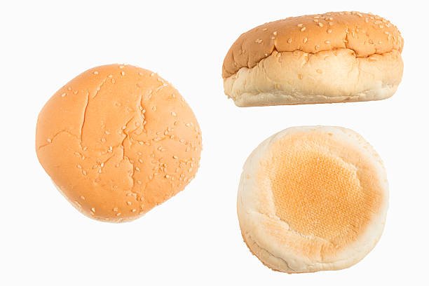 Set of hamburger bun Set of hamburger bun on white background. sweet bun stock pictures, royalty-free photos & images