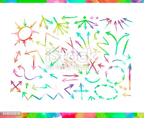 804299508 istock photo Set of hand drawn watercolor arrows 646935676