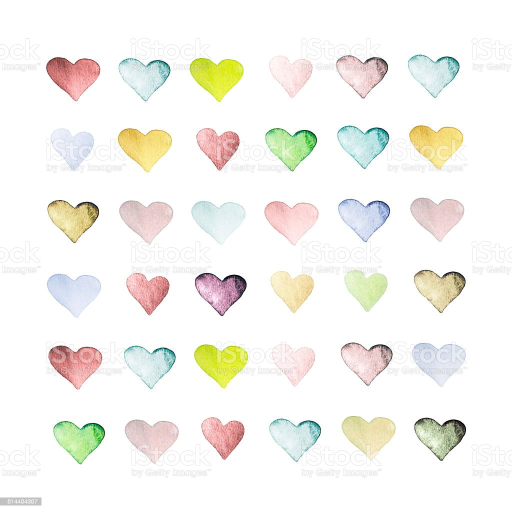 Set of hand drawn watercolor hearts. Beautiful hearts with paper stock photo