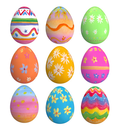 A set of hand-painted Easter eggs isolated on white.