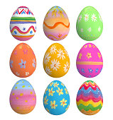 Colored Easter Eggs on colored backgrounds