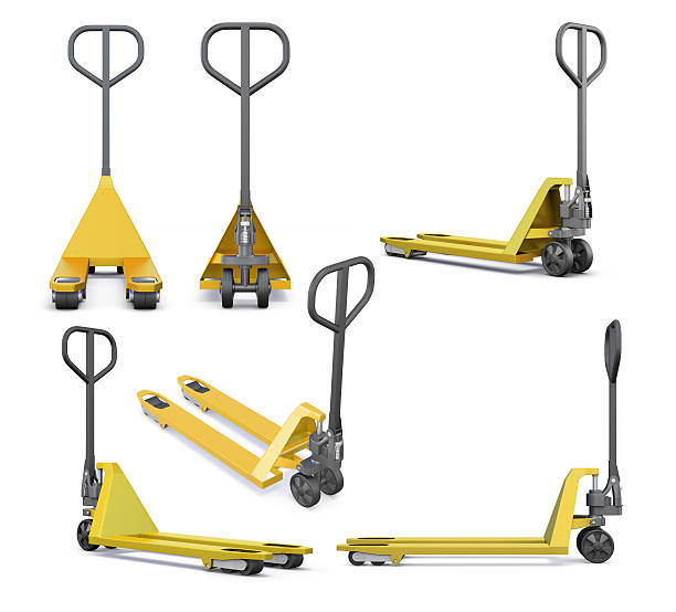 Set of hand pallet truck isolated on white background. Set of hand pallet truck isolated on white background. 3d rendering. pallet jack stock pictures, royalty-free photos & images