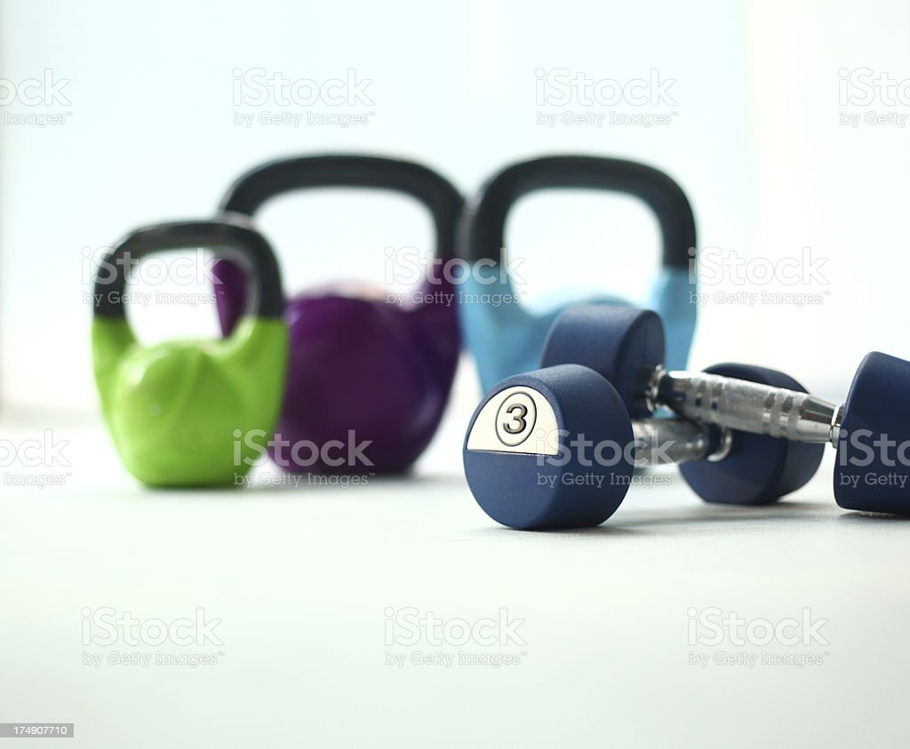 Set of hand weights. stock photo