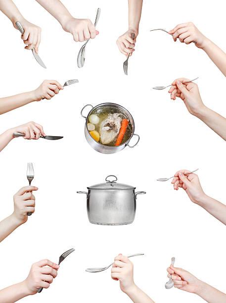 一連の手、キッチン用品白で分離 - スプーン ストックフォトと画像