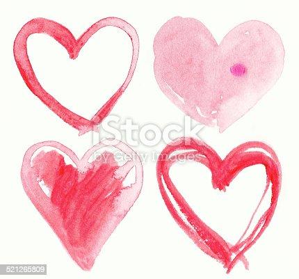 istock Set of Handmade Hearts. Painting illustration. 521265809