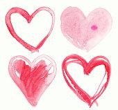 Set of Handmade Hearts. Painting illustration.