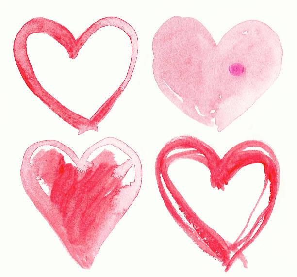 Satz von handgemachte Herzen.  Gemälde illustration. – Foto