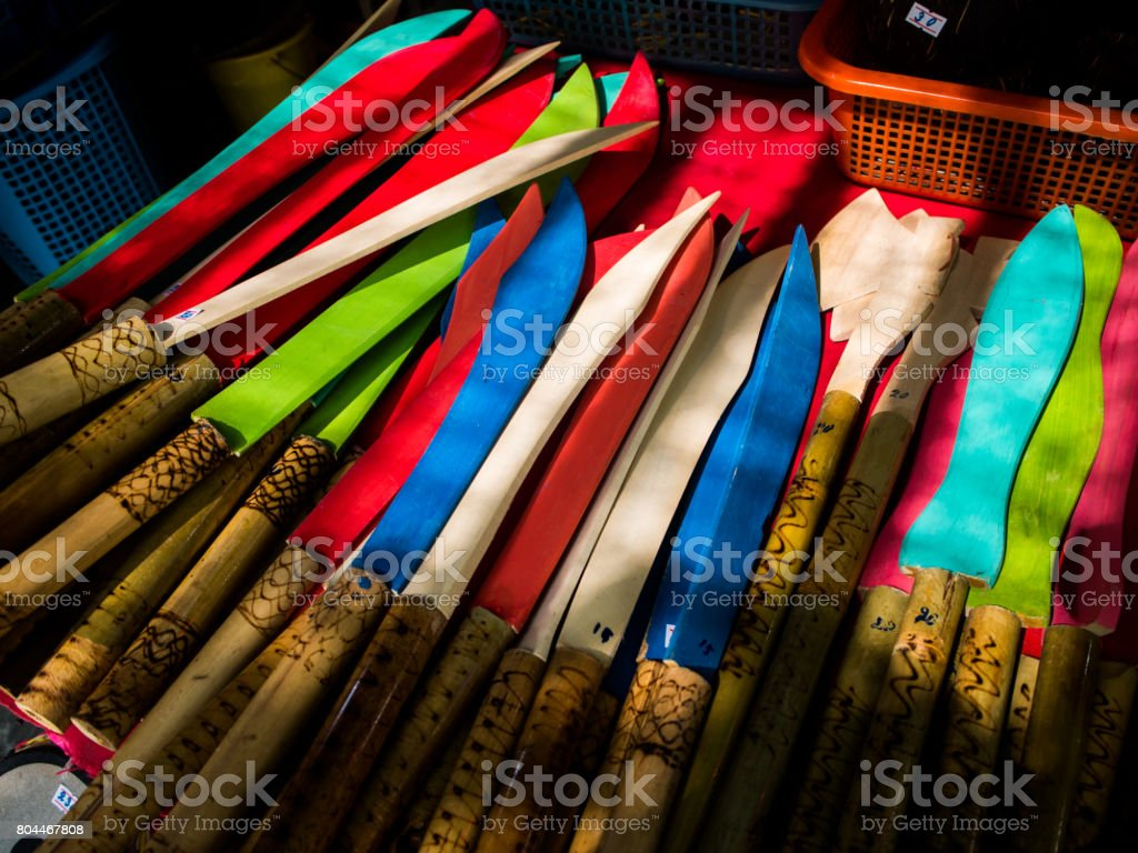 Set of handmade wooden knifes.Thai made. stock photo