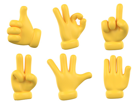 Character yellow hands collection. Rating feedback symbols.