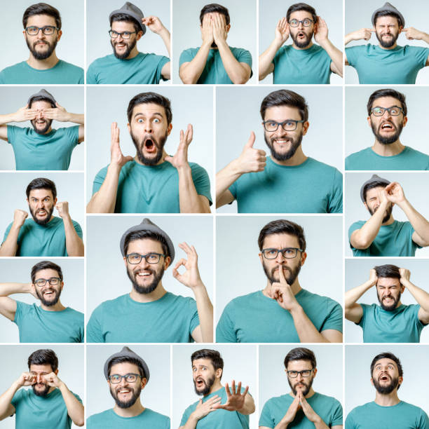 Set of handsome emotional man isolated over gray background stock photo
