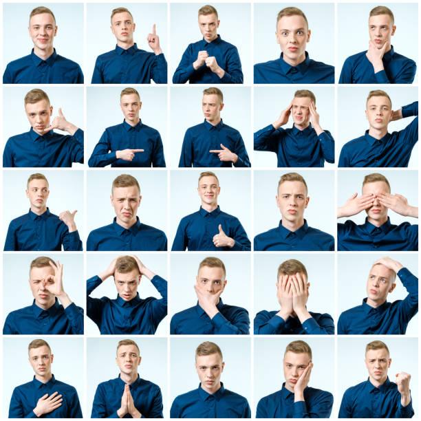 회색 배경 위에 절연 잘생긴 감정적인 남자의 세트 - 시리즈 일부 뉴스 사진 이미지