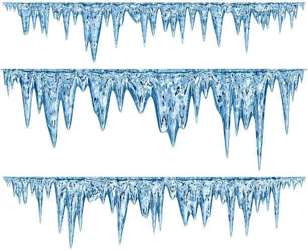 세트마다 매달기 해동 icicles 파란색 섀이드 - 고드름 뉴스 사진 이미지